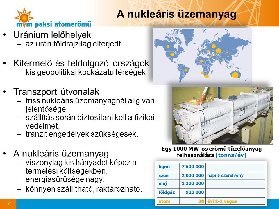 Egy 1000 MW-os erőmű tüzelőanyag felhasználása [tonna/év]
